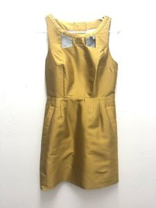 Anthro MAEVE 4 Bow Cut Out Chardonnay Sheen Dress